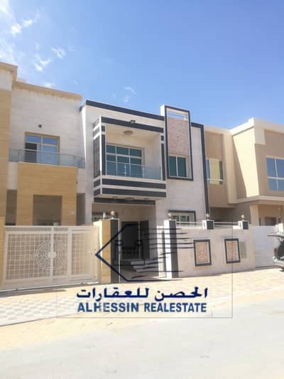 4 Bedroom Villa for Sale in Al Yasmeen, Ajman - For sale, 4-room villa, a board, and a large new hall, the first inhabitant of the building on an asphalt road in the Yasmine area
