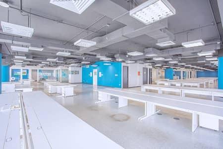 مکتب  للايجار في شارع الشيخ زايد، دبي - Furnished and Partitioned Floor | Panoramic View