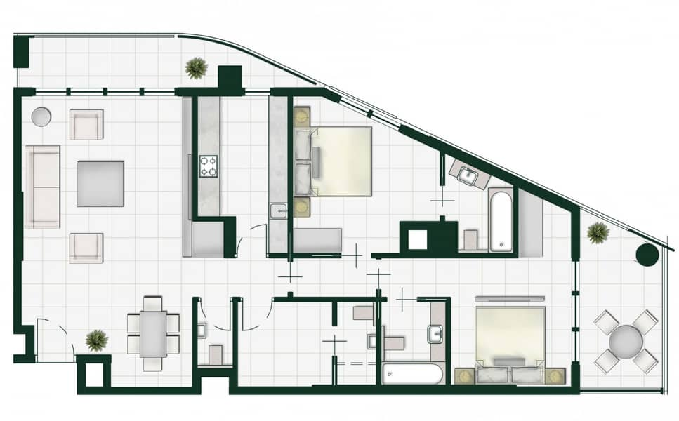 11 a luxurious 2 bedrooms apartment with 0%  down payment