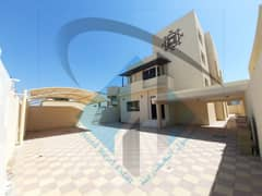 For sale a new villa, the first resident in the Emirate of Ajman, Al Rawda area, consisting of seven master bedrooms, a majlis, and a hall consisting of three floors with an internal elevator