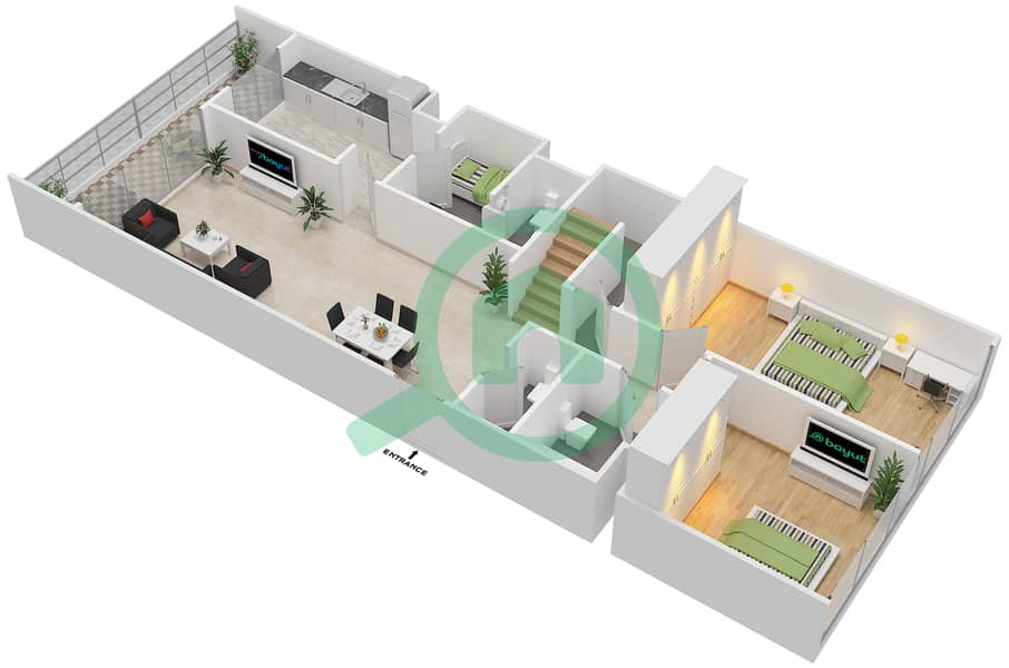 Floor Plans For Type 3a 3 Bedroom Apartments In Ajman Corniche Residence Bayut Ajman