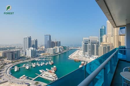 1 Bedroom Apartment for Rent in Dubai Marina, Dubai - Vacant | Fully Furnished 1BR | Full Marina View