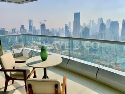 شقة 2 غرفة نوم للايجار في وسط مدينة دبي، دبي - Full Burj and Fountain View | Balcony | Furnished