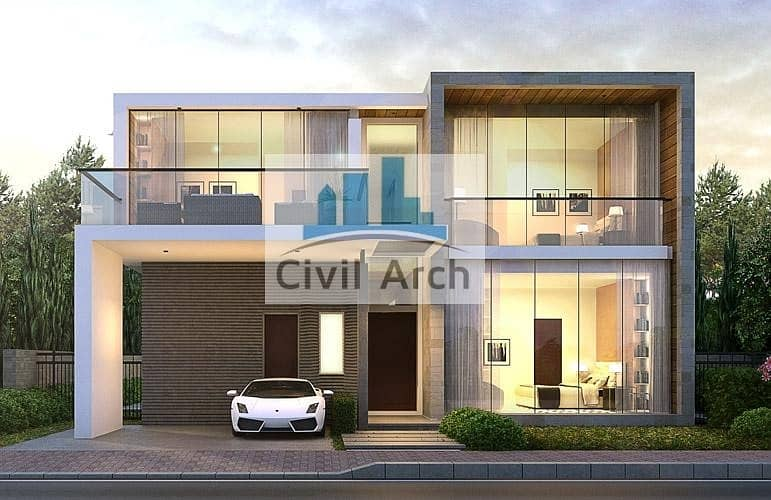 furnished limited edition 5 br villa+Middle of golf course area+4 years payment plan