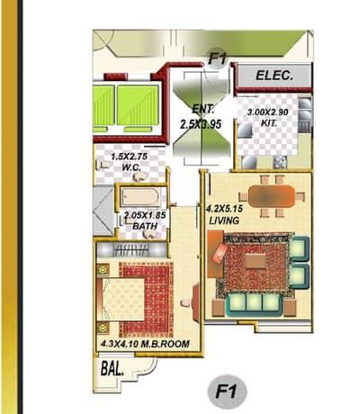 شقة 1 غرفة نوم للبيع في الراشدية، عجمان - FLOOR PLAN