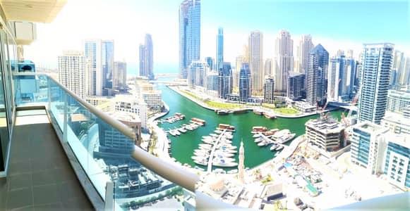 2 Bedroom Flat for Rent in Dubai Marina, Dubai - Marina n Sea view corner apartment with a maids room