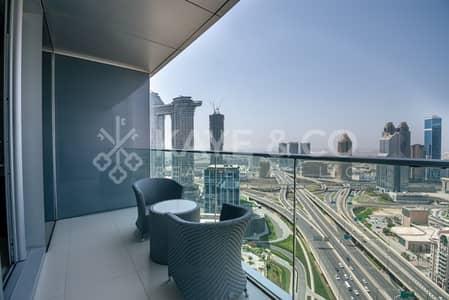 فلیٹ 1 غرفة نوم للايجار في وسط مدينة دبي، دبي - Very High Floor | Fully Furnished | Full Sea View