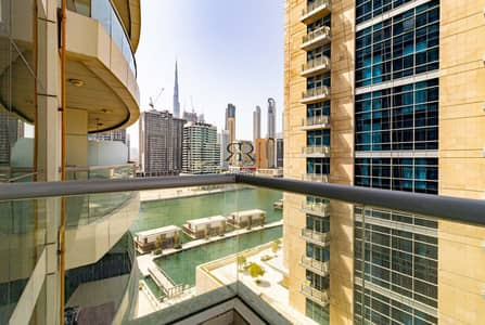 1 Bedroom Flat for Rent in Business Bay, Dubai - With 360 Video Tour | Partial Dubai Canal and Burj Khalifa View with Balcony