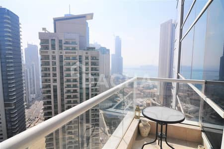 1 Bedroom Apartment for Rent in Dubai Marina, Dubai - Furnished 1 bed / High floor / Sea view