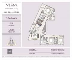 3 bedrooms, unit 4, 8, levels T54 to T57