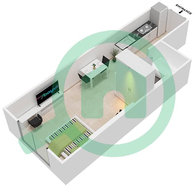 DAMAC Ghalia - Studio Apartment Unit 19 Floor plan Floor 6-25-27-38 interactive3D
