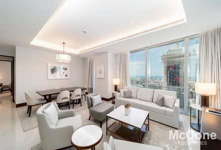 فلیٹ 2 غرفة نوم للايجار في وسط مدينة دبي، دبي - Very High Floor | Sea Views | Luxurious
