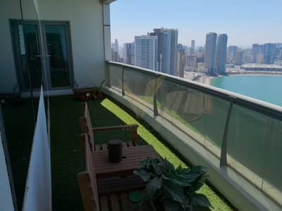 2 Bedroom Apartment for Sale in Al Khan, Sharjah - Vacant 2BR in Al Shahd Tower with Sea view with Parking