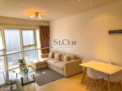 1 Bedroom Flat for Rent in Jumeirah Lake Towers (JLT), Dubai - Fully Furnished I Next To Metro I Lake & Skyline View