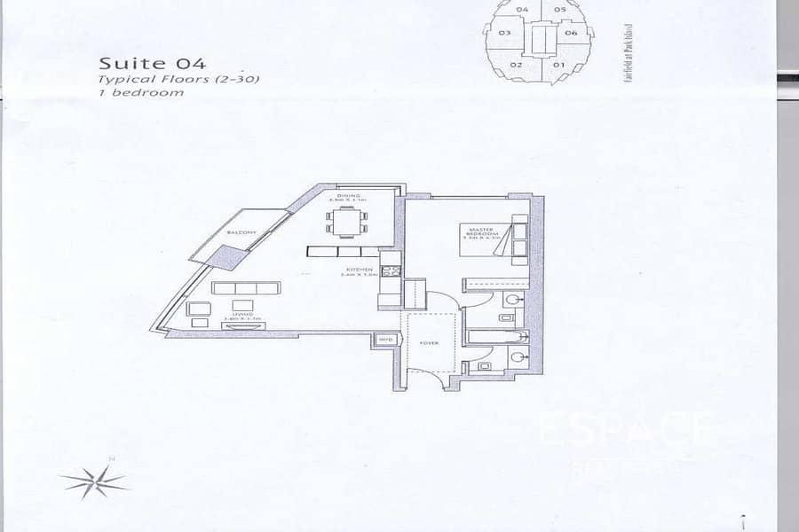 10 Vacant | 1 Bed | Marina View | 909 Sq. ft