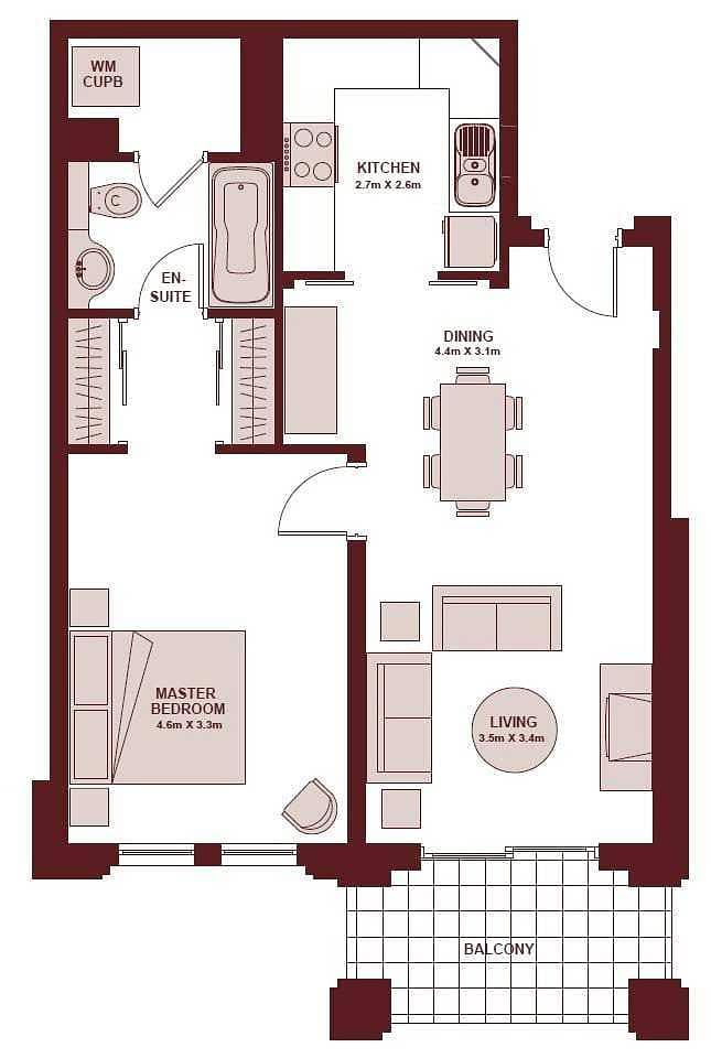 12 Exclusive | 1 Bedroom Apartment | Rented