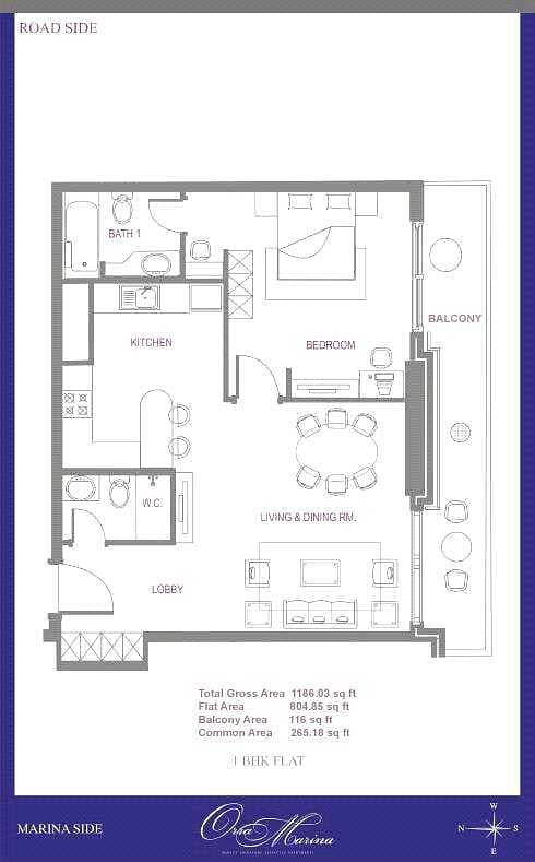 11 Marina View   One Bedroom   908 Sq. Ft.