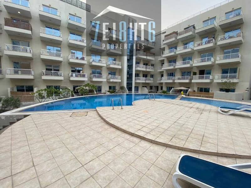 FULLY FURNISHED: 2 b/r good quality apartment + BALCONY + s/pool for rent in JVC