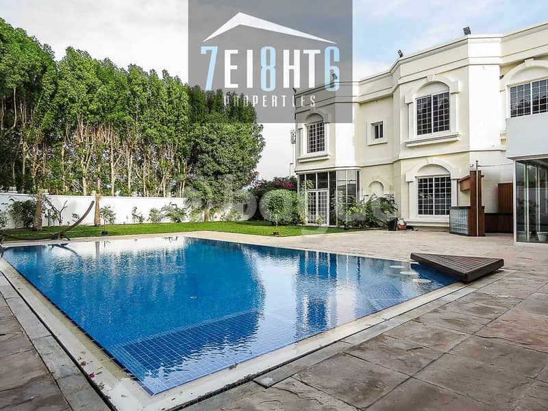 Outstanding property: 5 b/r good quality independent villa + maids room + drivers room  + PRIVATE s/pool + large garden