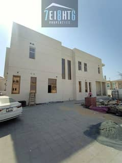 Excellent quality: 5 b/r indep BRAND NEW villa + maids room + LIFT + large landscaped garden for rent in Khawaneej 1