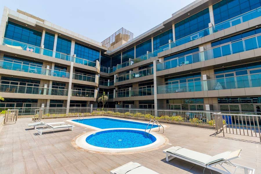 2 2 MONTHS FREE!! 550 Sq. Ft. Studio with Equipped Kitchen |  Balcony with Pool View + Amazing Amenities | JVC