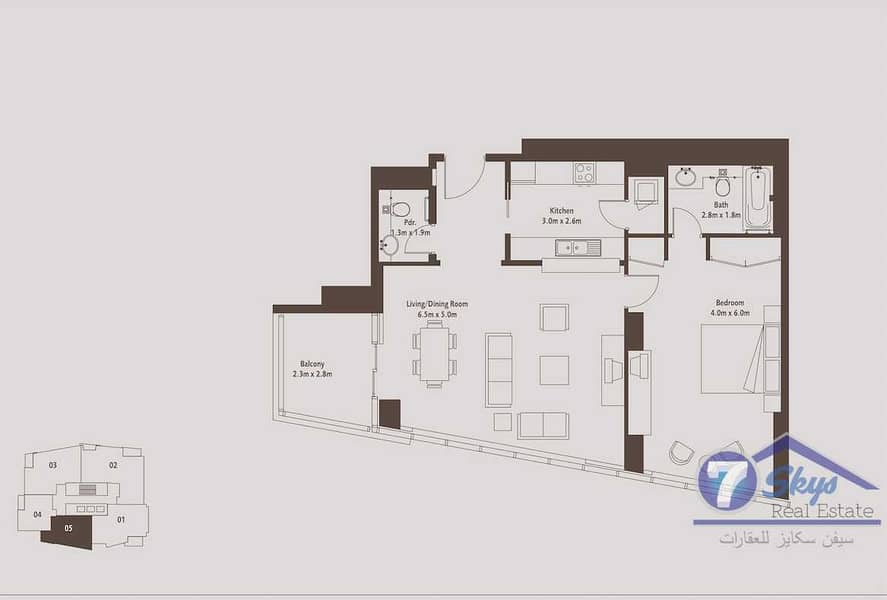 10 05 Type 1BHK | High Floor | With Canal View