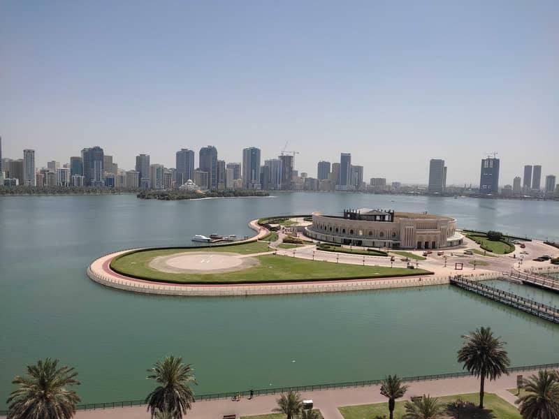 Sea view  2 month free 3BHK with parking gym pool Al Majaz 3