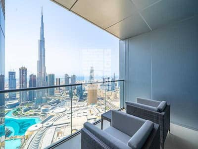 شقة فندقية 2 غرفة نوم للبيع في وسط مدينة دبي، دبي - Fountain/Burj Khalifa View   Corner   High Floor