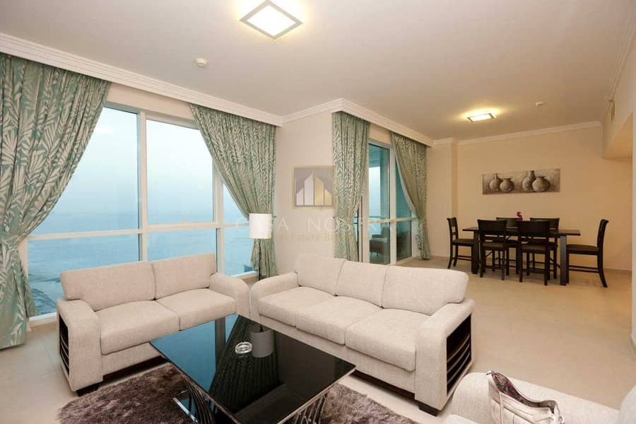 Higher Floor Furnished 2BR Maids Room Sea View