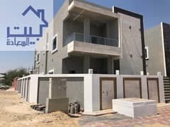 For sale corner villa in Ajman, European design, freehold, all nationalities, without down payment, installments up to 25 years