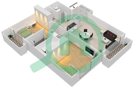 Tennis Tower - 2 Beds Apartments type A Floor plan