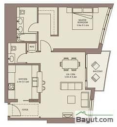 Typical Floors (4-26) 1 Bedroom Suite 1