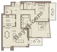 Typical Floors (4-26) 2 Bedroom Suite 2