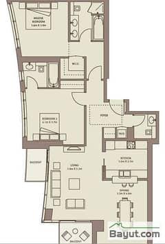 Typical Floors (4-26) 2 Bedroom Suite 3