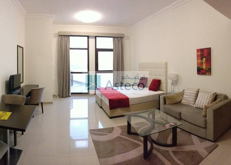 14 Luxuriant Living! Furnished Studio Balcony and Pool Views