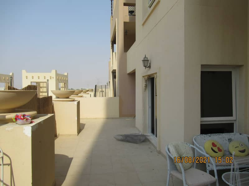 1 Bedroom spacious|with 420 sq ft terrace |1st floor|clean & bright|rent Dhs 33k p/a|Amazing offer!