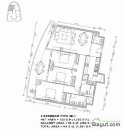 38th Floor Apt Plan 3 Bedroom