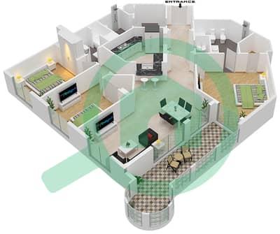 Al Khudrawi - 3 Bedroom Apartment Type A Floor plan