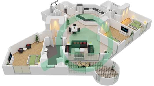 Al Khudrawi - 3 Bedroom Apartment Type C Floor plan
