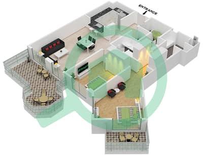 Al Khudrawi - 2 Bedroom Apartment Type F Floor plan