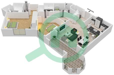 Al Khudrawi - 2 Bedroom Apartment Type E Floor plan