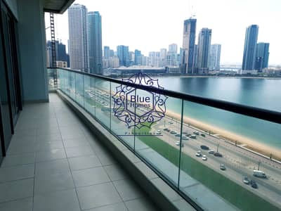 3 Bedroom Apartment for Rent in Al Mamzar, Sharjah - Luxury Sea View A. C Free 3BR All Master With GYm Pool Parking 75k
