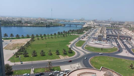 3 Bedroom Apartment for Rent in Corniche Al Buhaira, Sharjah - Chiller, parking gym pool free! Spacious 3 bhk balcony open view! Buhaira cornchise majaz 1 area