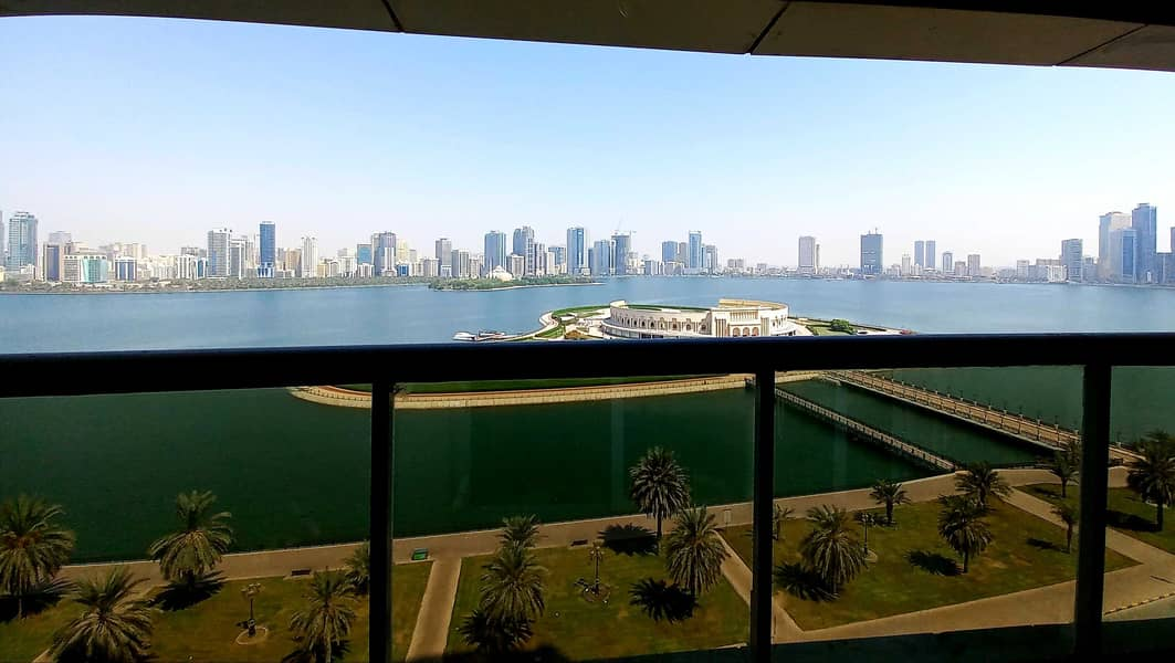 One month free, spacious 3bh apartment with Seaview,  gym pool parking at buhaira corniche al majaz 3 sharjah
