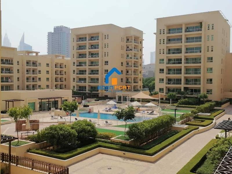 Large Layout   1 BHK   Al Dhafrah 1   Pool Facing    Greens
