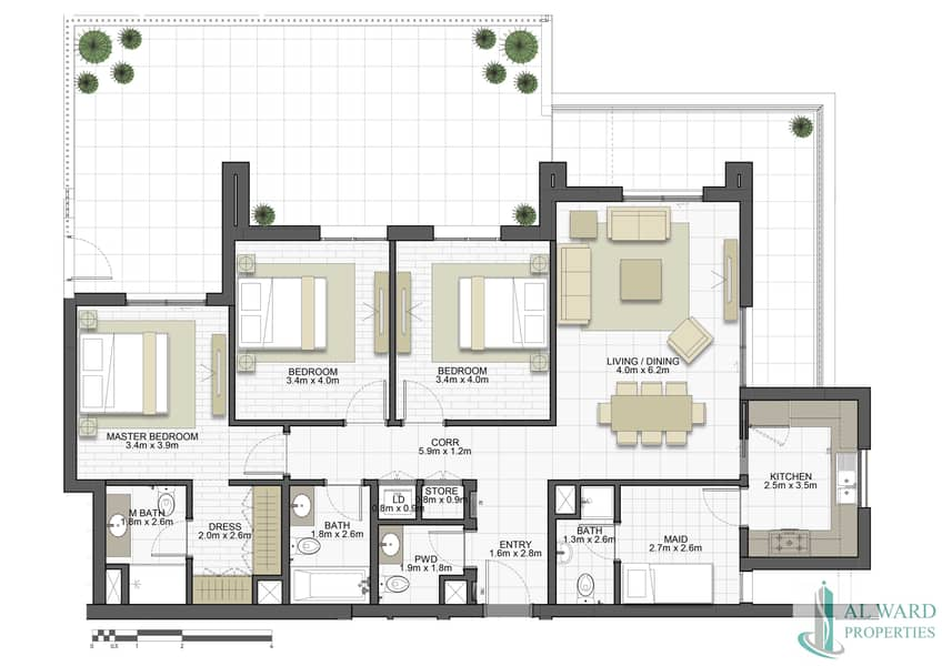 10 Full Sea view   Luxury 3bed unit with Maids rooms   Overlooking  to Community Park too   With Monthly Payment Plan Plan