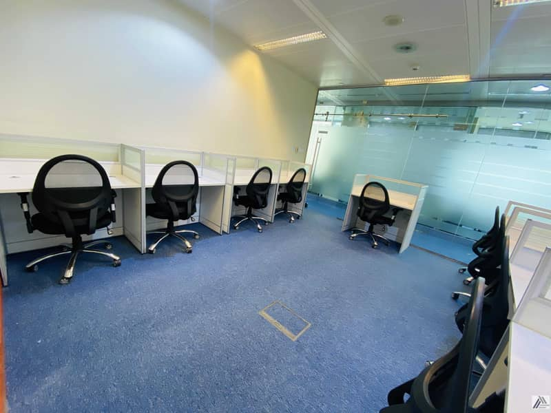 2 Fully Furnished serviced  office with separate Meeting table -Linked with Mall and  Metro
