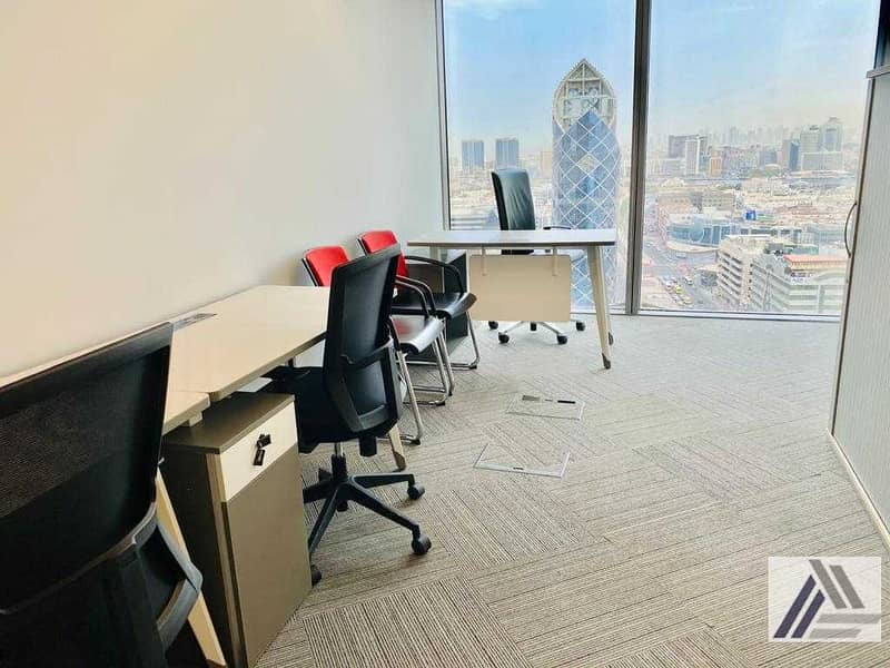 Fully Furnished And Fitted Office For Rent With Amazing Views-linked with burjuman  Mall and Mero