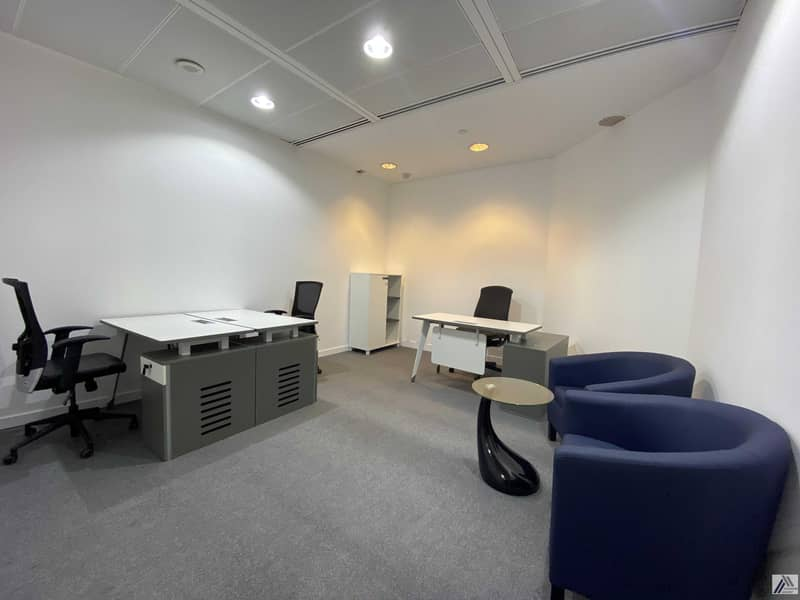 Well-Furnished Office   Newly Established Floor   Free Ejari  Linked with Metro and Mall