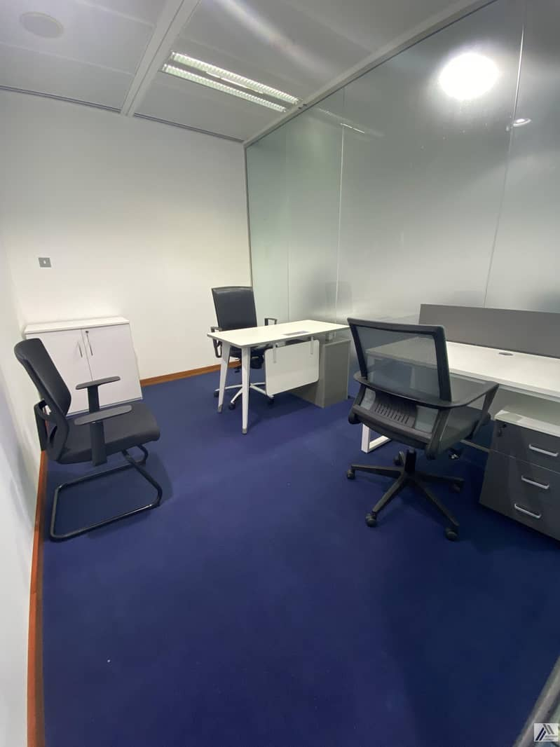 Fully Furnished Office-Dewa internet free/ Suitable for 2 Staff / Linked with Metro and mall